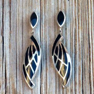 Vintage 925 Onyx Inlay Earrings Wing Earrings